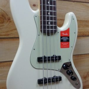 Fender® American Professional Jazz Bass® V Rosewood Fingerboard Olympic White w/Case